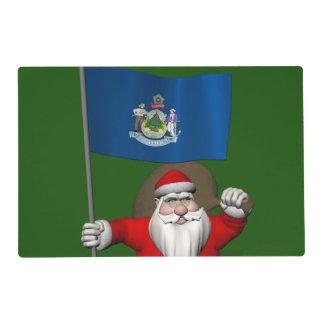 Papá Noel con la bandera de Maine Salvamanteles