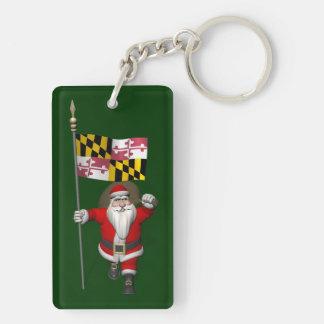 Papá Noel con la bandera de Maryland Llavero Rectangular Acrílico A Doble Cara