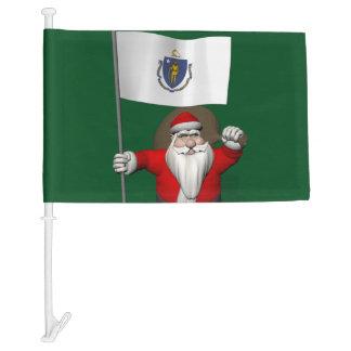 Papá Noel con la bandera de Massachusetts