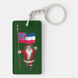 Papá Noel con la bandera de Mississippi Llavero Rectangular Acrílico A Doble Cara
