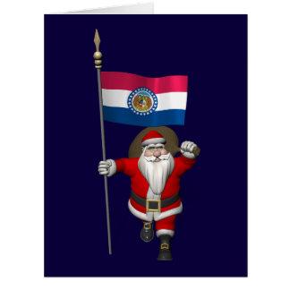 Papá Noel con la bandera de Missouri Tarjeton