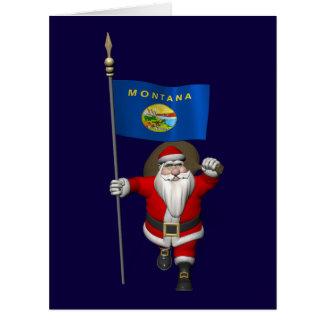 Papá Noel con la bandera de Montana Felicitaciones