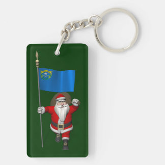 Papá Noel con la bandera de Nevada Llavero Rectangular Acrílico A Doble Cara