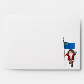 Papá Noel con la bandera de Nevada Sobre