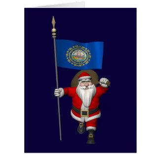 Papá Noel con la bandera de New Hampshire Felicitación