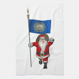 Papá Noel con la bandera de New Hampshire Toallas De Cocina