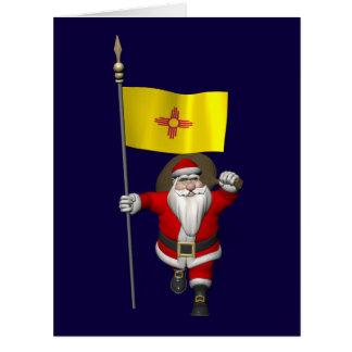 Papá Noel con la bandera de New México Felicitacion