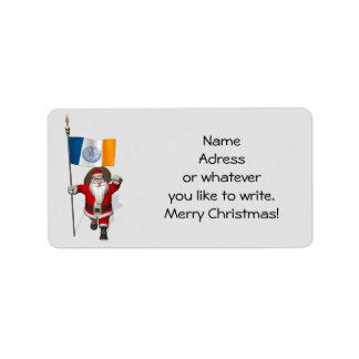 Papá Noel con la bandera de New York City Etiquetas De Dirección