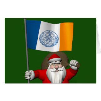 Papá Noel con la bandera de New York City Tarjeta De Felicitación
