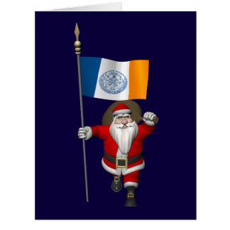 Papá Noel con la bandera de New York City Tarjeta De Felicitación Grande