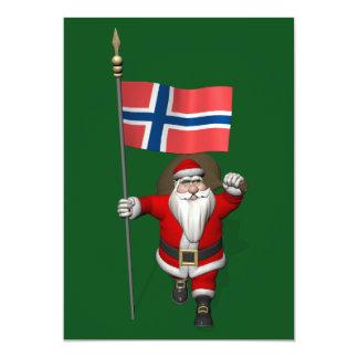 """Papá Noel con la bandera de Noruega Invitación 5"""" X 7"""""""