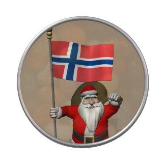 Papá Noel con la bandera de Noruega Frascos De Dulces