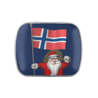 Papá Noel con la bandera de Noruega Latas De Caramelos