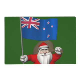 Papá Noel con la bandera de Nueva Zelanda Tapete Individual