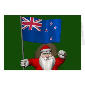 Papá Noel con la bandera de Nueva Zelanda Tarjeton
