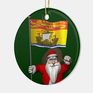 Papá Noel con la bandera de Nuevo Brunswick Adorno Redondo De Cerámica