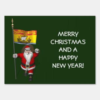 Papá Noel con la bandera de Nuevo Brunswick Letreros