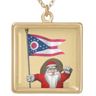 Papá Noel con la bandera de Ohio Grimpolas Personalizadas