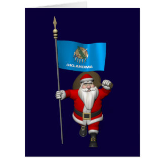 Papá Noel con la bandera de Oklahoma Felicitación