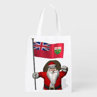 Papá Noel con la bandera de Ontario CDN Bolsas De La Compra