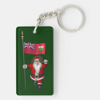 Papá Noel con la bandera de Ontario CDN Llavero Rectangular Acrílico A Doble Cara