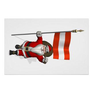 Papá Noel con la bandera de Österreich Austria Perfect Poster