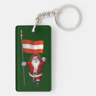 Papá Noel con la bandera de Österreich Llavero Rectangular Acrílico A Doble Cara
