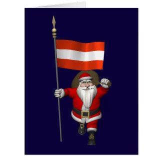 Papá Noel con la bandera de Österreich Felicitacion