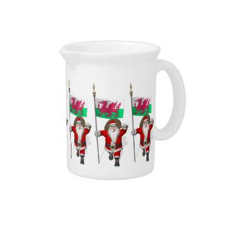 Papá Noel con la bandera de País de Gales Jarron