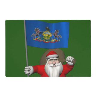 Papá Noel con la bandera de Pennsylvania Tapete Individual