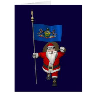 Papá Noel con la bandera de Pennsylvania Felicitaciones