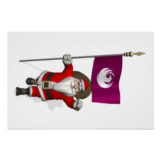 Papá Noel con la bandera de Phoenix AZ Perfect Poster