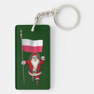 Papá Noel con la bandera de Polonia Llavero Rectangular Acrílico A Doble Cara