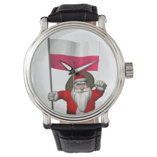 Papá Noel con la bandera de Polonia Reloj De Mano