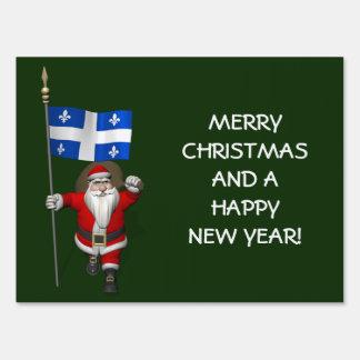 Papá Noel con la bandera de Québec Cartel