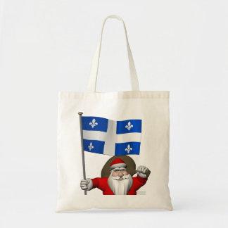 Papá Noel con la bandera de Québec CDN Bolsa Tela Barata