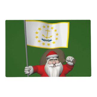 Papá Noel con la bandera de Rhode Island Tapete Individual
