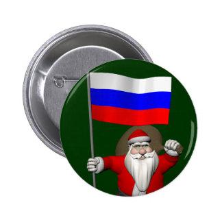 Papá Noel con la bandera de Rusia Pin Redondo De 2 Pulgadas