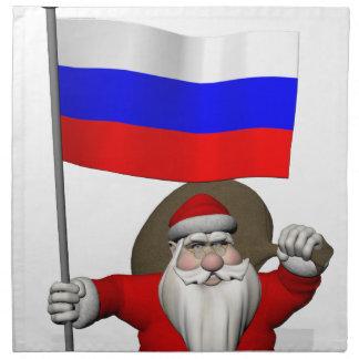 Papá Noel con la bandera de Rusia Servilletas De Papel