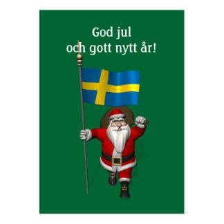 Papá Noel con la bandera de Suecia Tarjetas De Visita Grandes