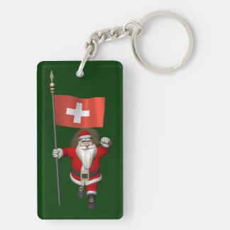 Papá Noel con la bandera de Suiza Llavero Rectangular Acrílico A Doble Cara