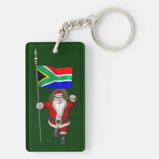 Papá Noel con la bandera de Suráfrica Llavero Rectangular Acrílico A Doble Cara