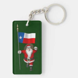 Papá Noel con la bandera de Tejas Llavero Rectangular Acrílico A Doble Cara