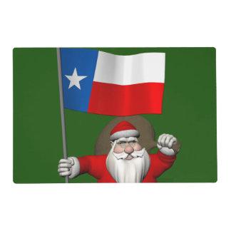 Papá Noel con la bandera de Tejas Tapete Individual