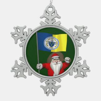 Papá Noel con la bandera de Trenton NJ Adorno De Peltre En Forma De Copo De Nieve