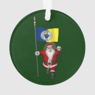 Papá Noel con la bandera de Trenton NJ