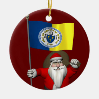 Papá Noel con la bandera de Trenton NJ Adorno Navideño Redondo De Cerámica