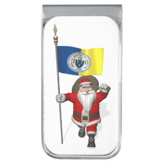 Papá Noel con la bandera de Trenton NJ Clip Para Billetes Plateado