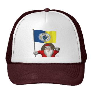 Papá Noel con la bandera de Trenton NJ Gorro