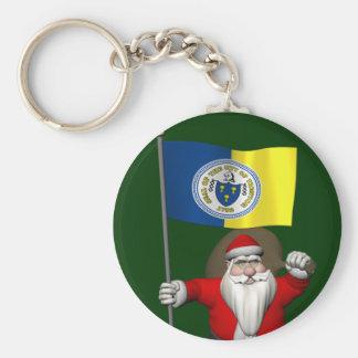 Papá Noel con la bandera de Trenton NJ Llavero Redondo Tipo Pin